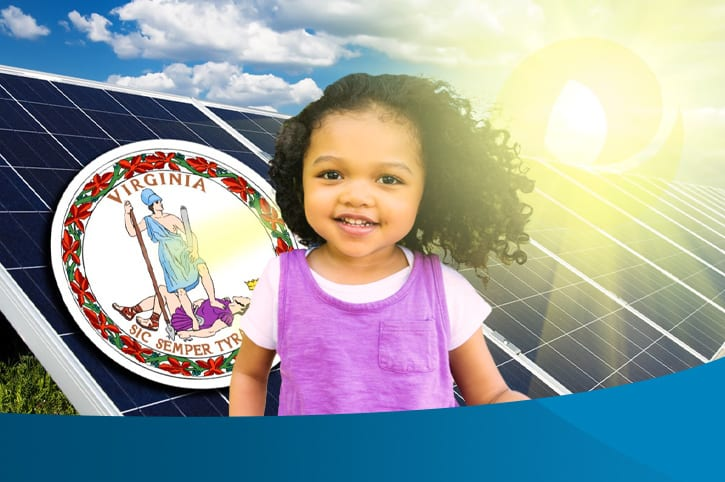 image of solar panels and virginia flag with little girl